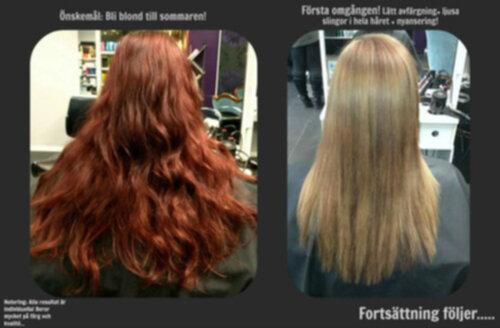 från rött till blont hår