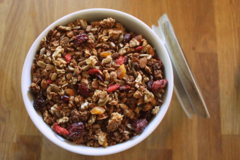 granola med äppeljuice