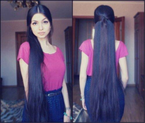 tjockt långt hår