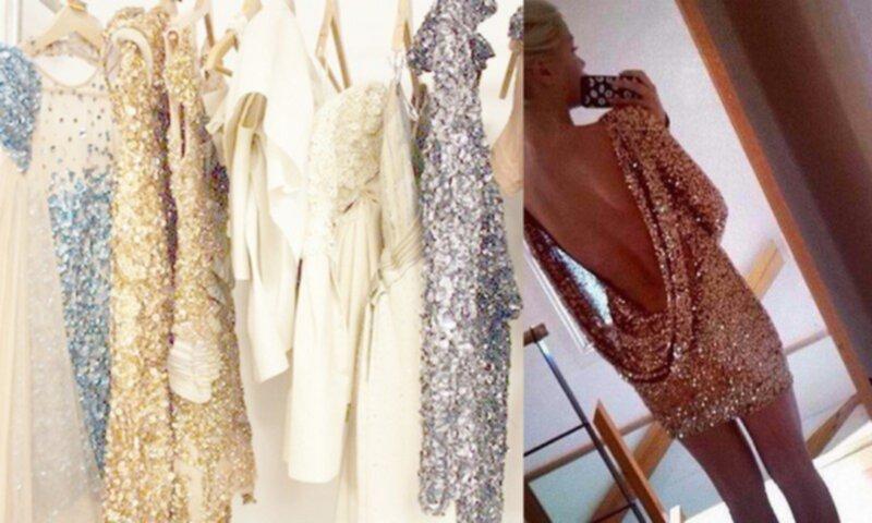 lång glittrig klänning