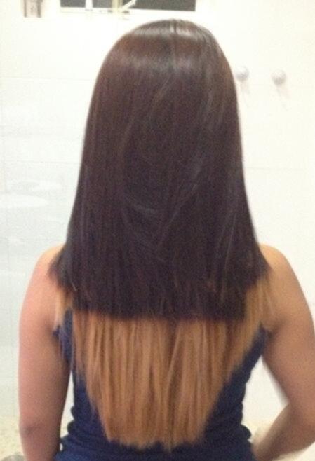 ombre på svart hår
