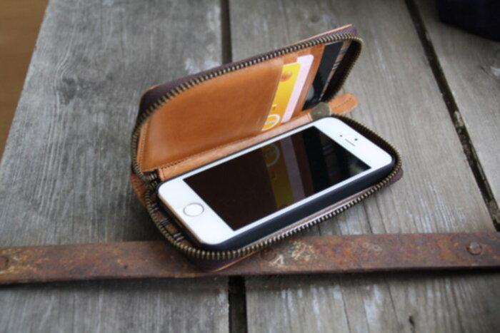 plånbok med plats för mobil