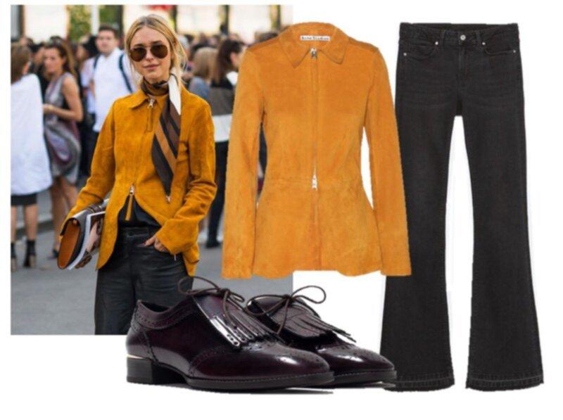1676cf18fcf Suede jacket/ACNE STUDIOS, shoes/ZARA, flare jeans/ZARA