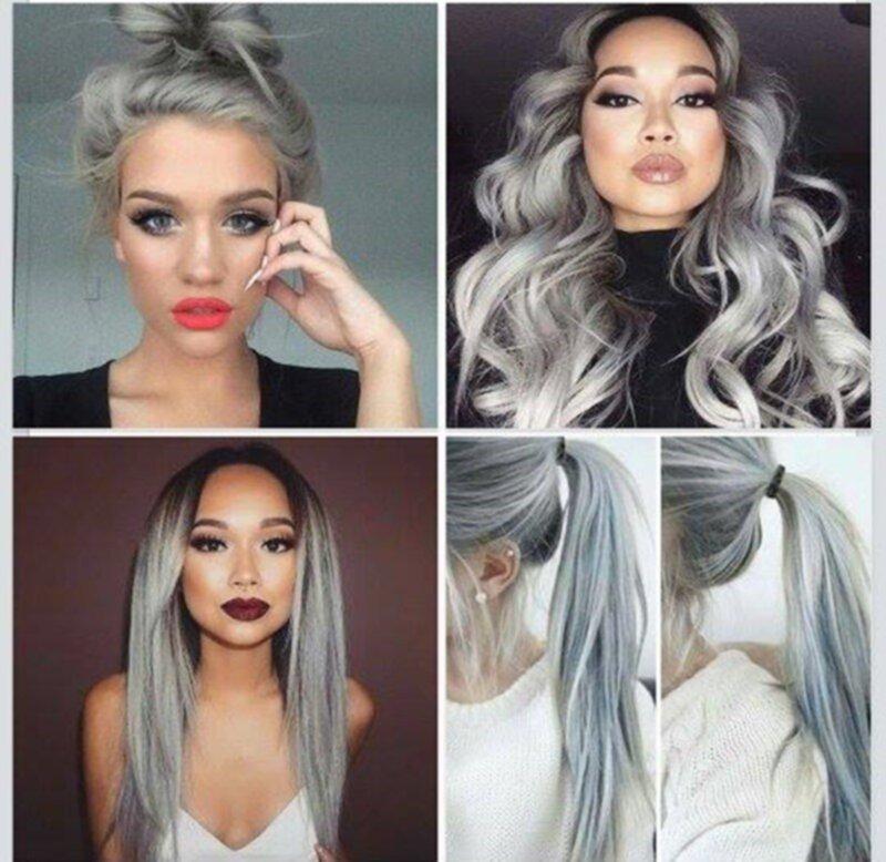 svart och grått hår