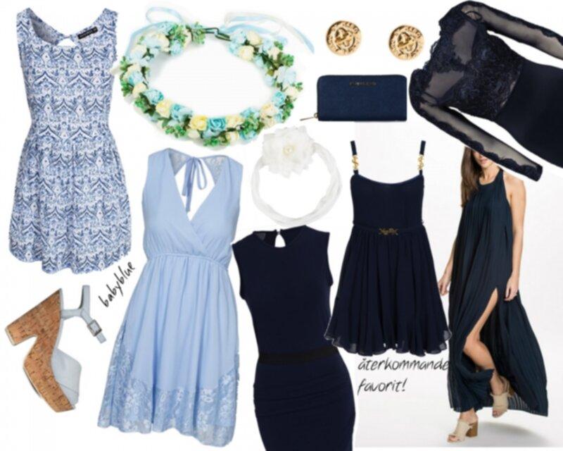 ljusblå kort klänning