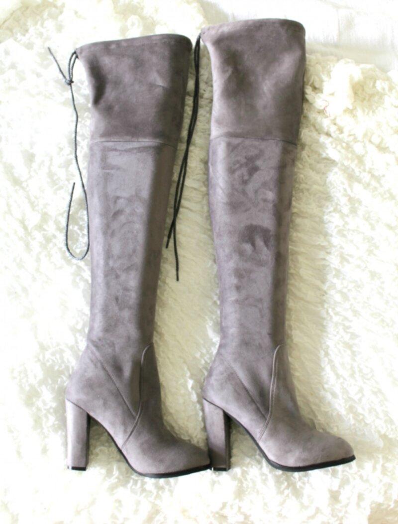 Over knee boots grå