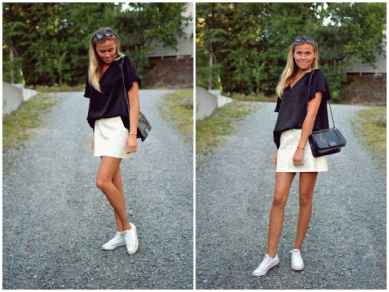 beige kjol outfit