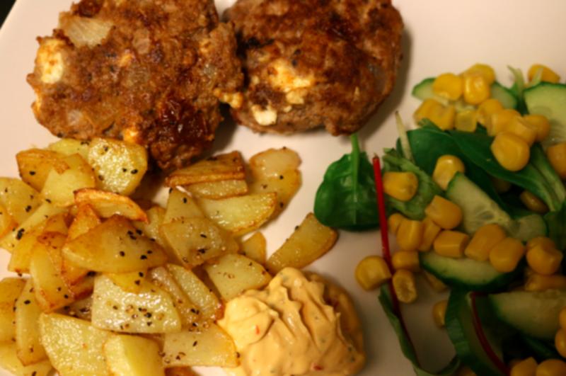 biffar med fetaost och soltorkade tomater recept