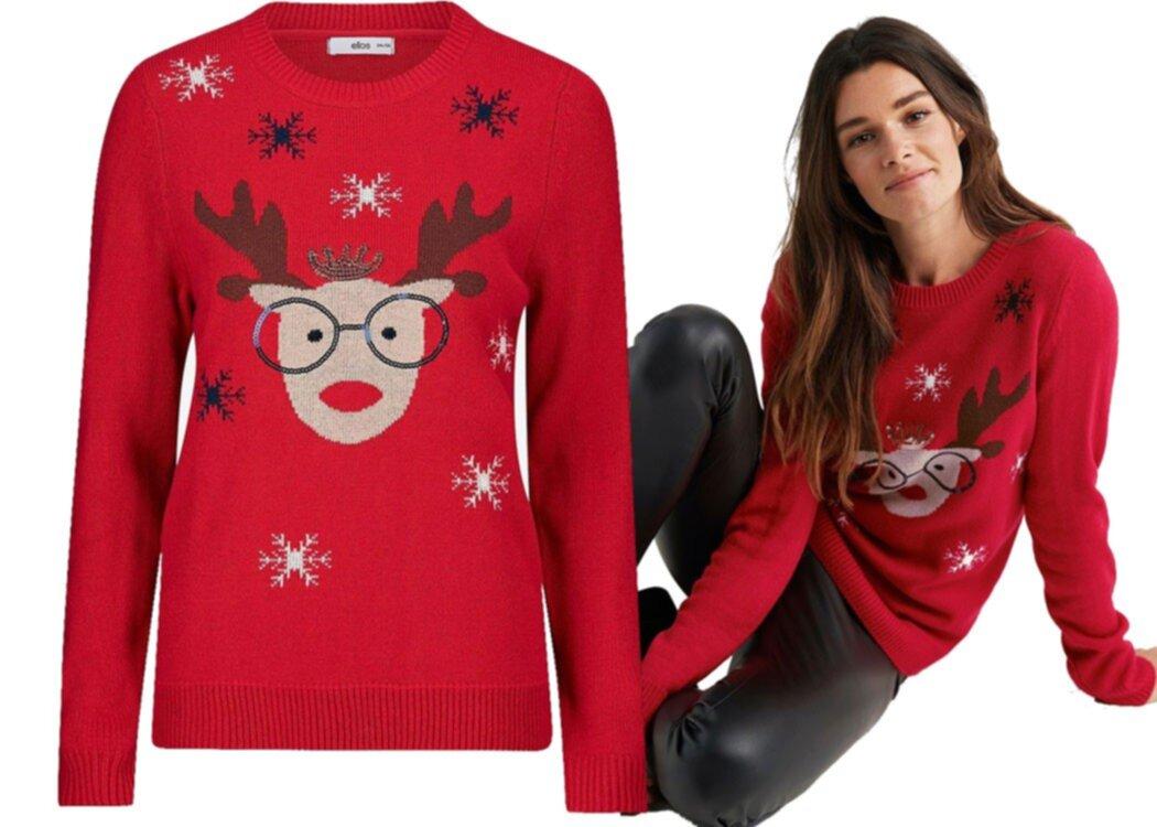 f28f01f5d6a1 1. Klarröd stickad tröja med ren från Ellos. Köp den här!